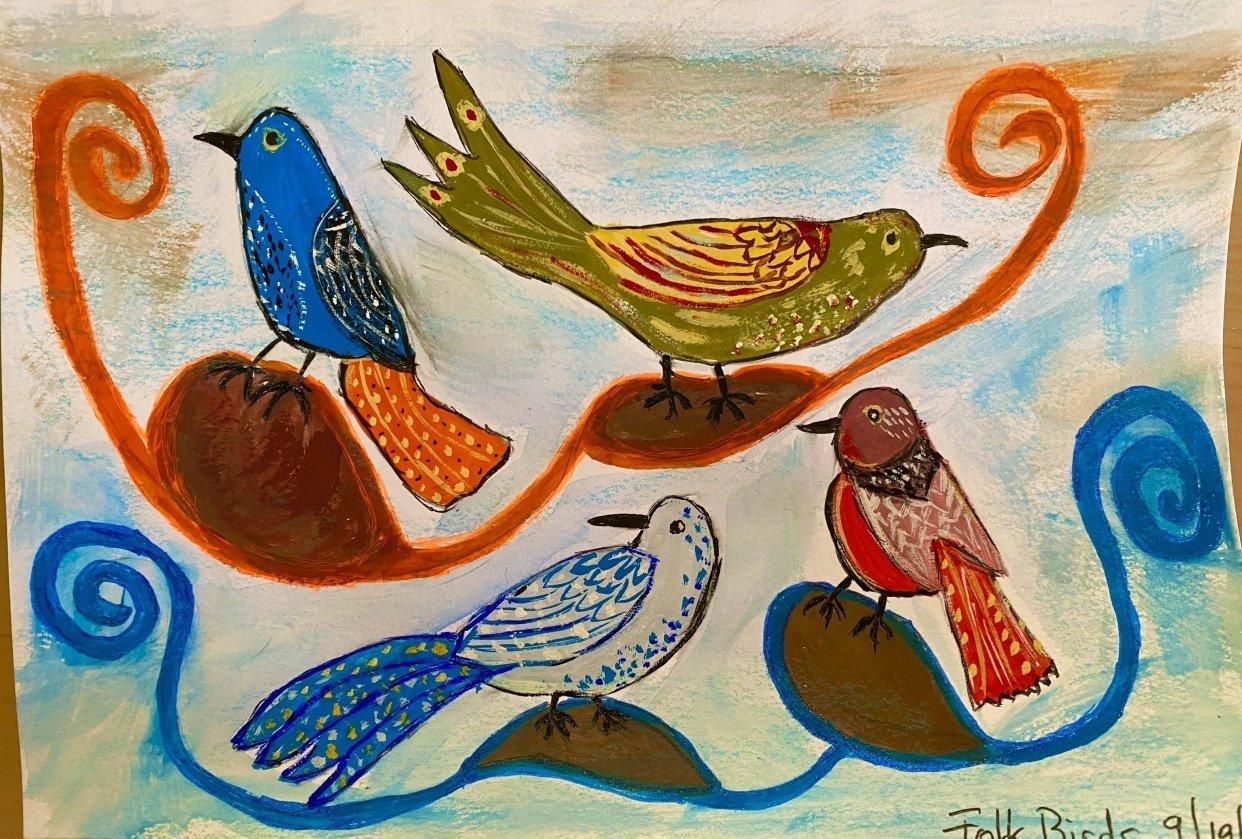 Folk Art Birds - student project