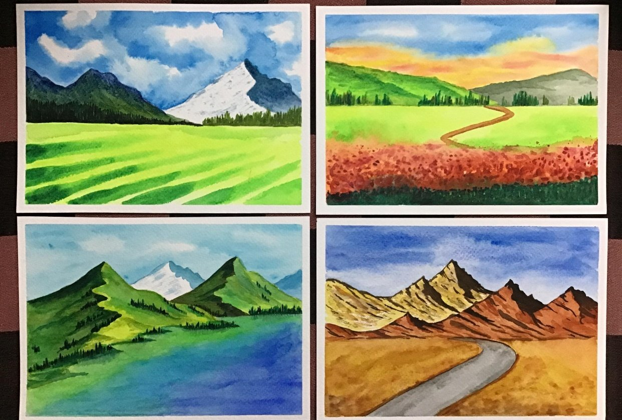 Amazing start to watercolour landscapes! - student project