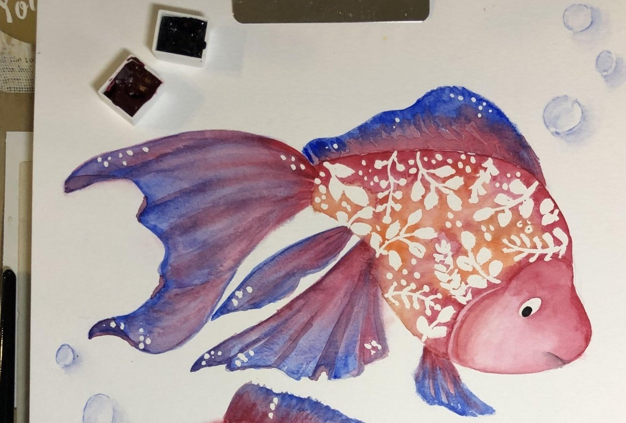 Watercolor Fishes with Femvisionary - student project