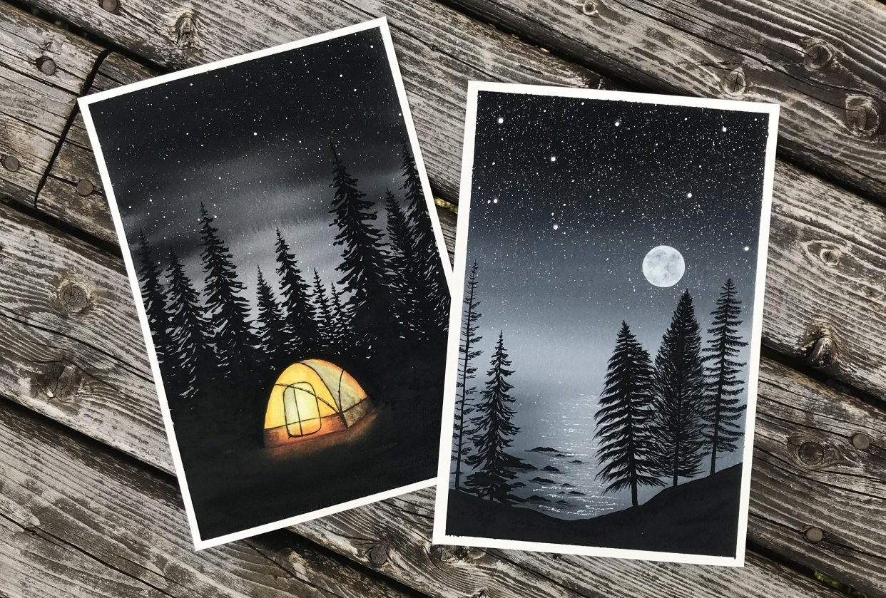 Camping amid the evergreens - student project