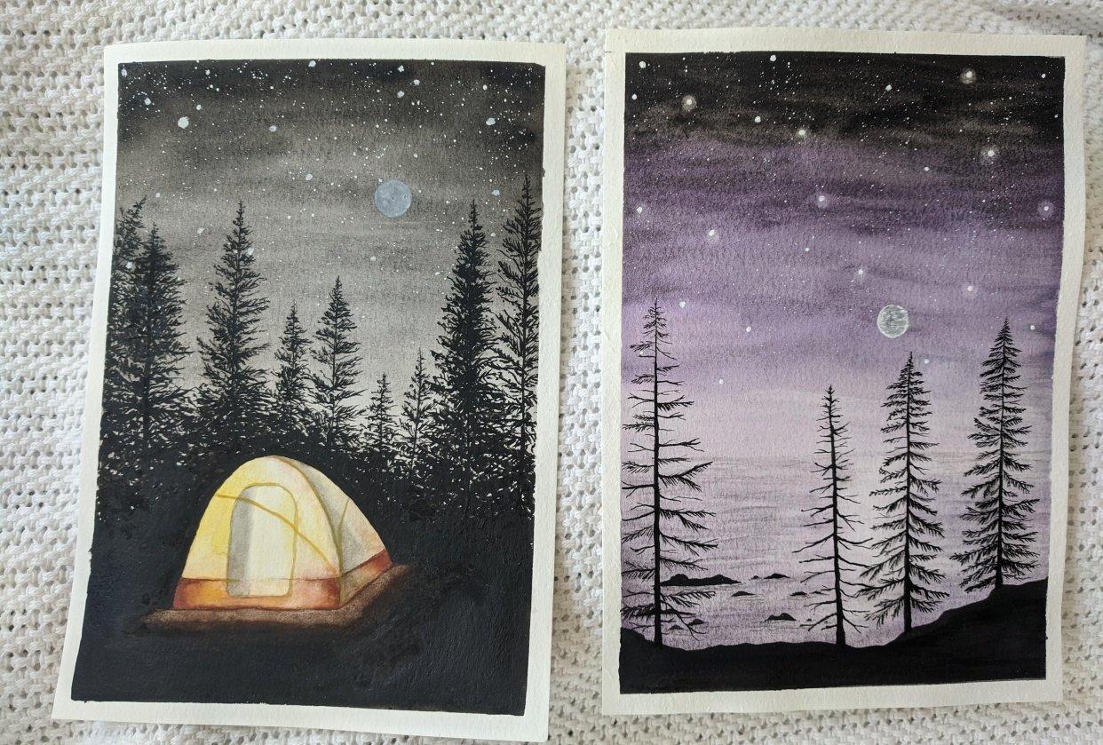 night pines w purple sky - student project