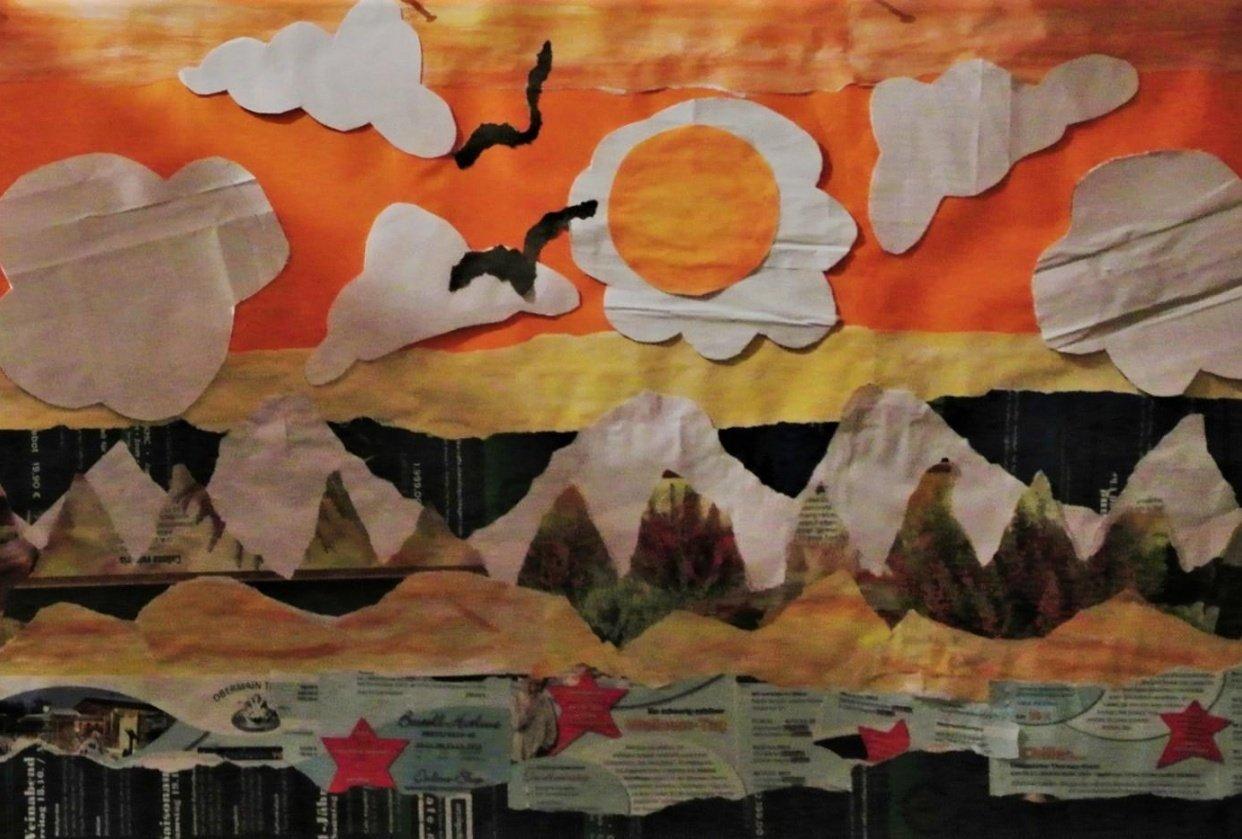 Paper collage - landscape - student project
