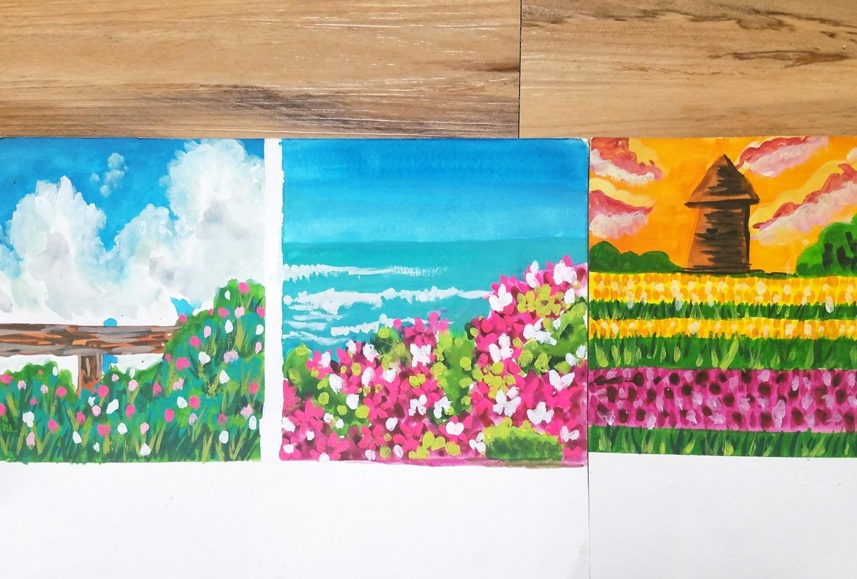Gouache Meadow Paintings - student project