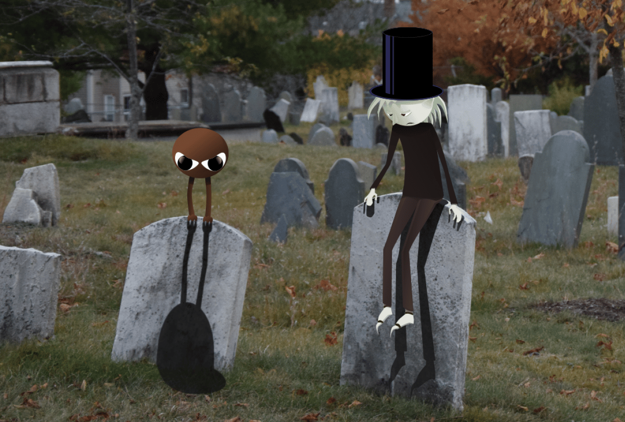 Sad elf in cemetary - student project