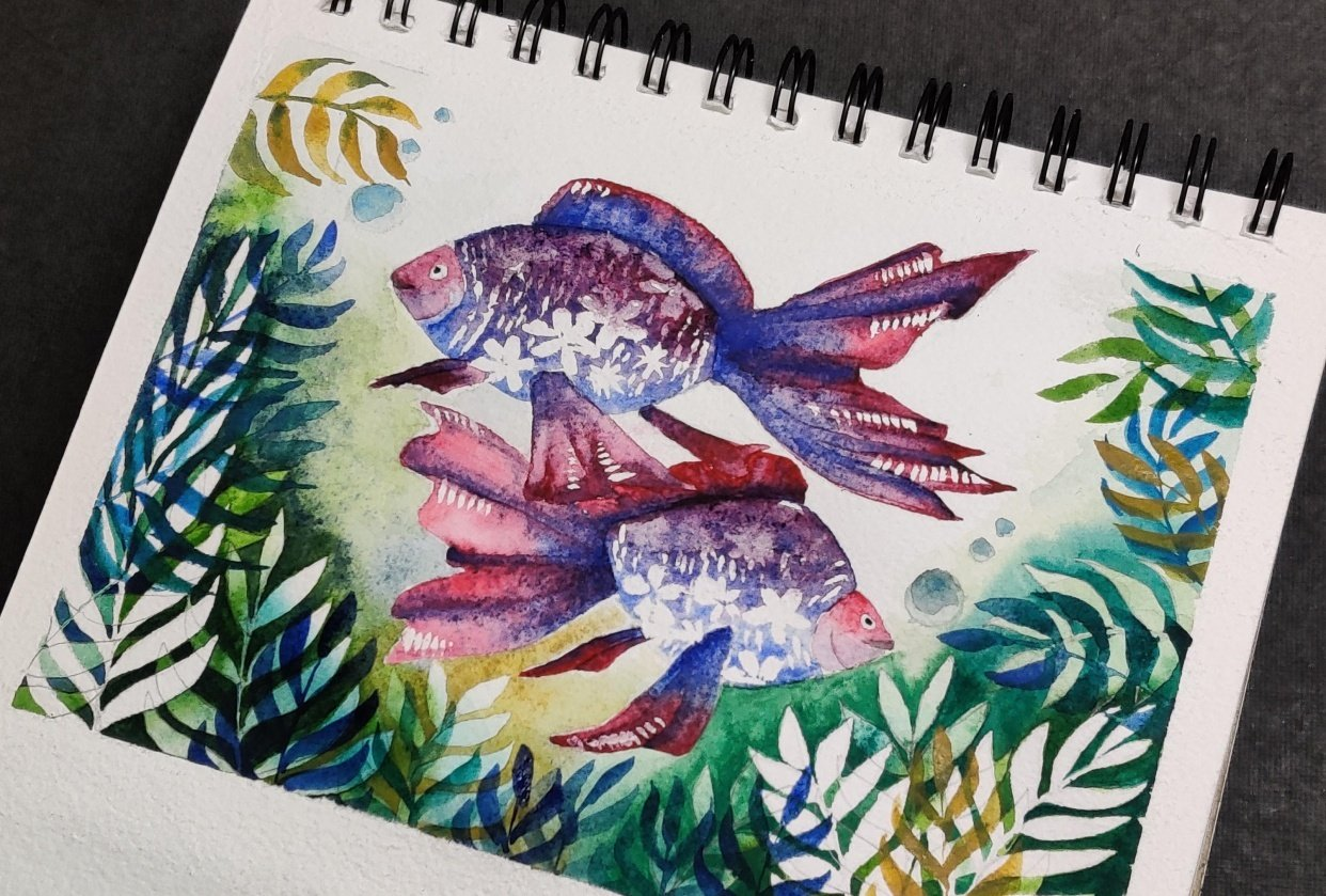 Negative painting and floral Fish - student project