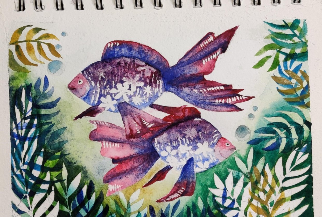 Underwater watercolor pattern - student project