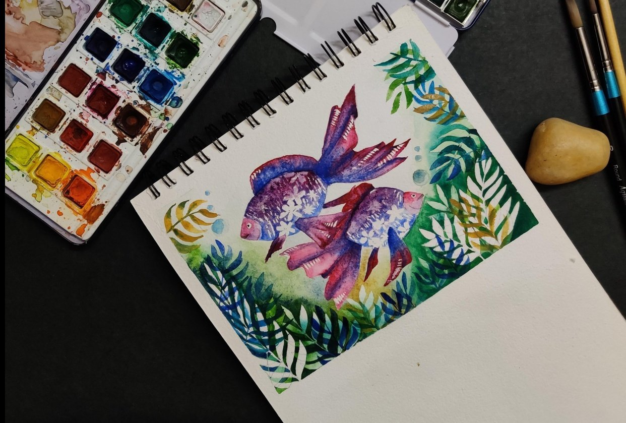 Underwater Watercolor with negative layering - student project