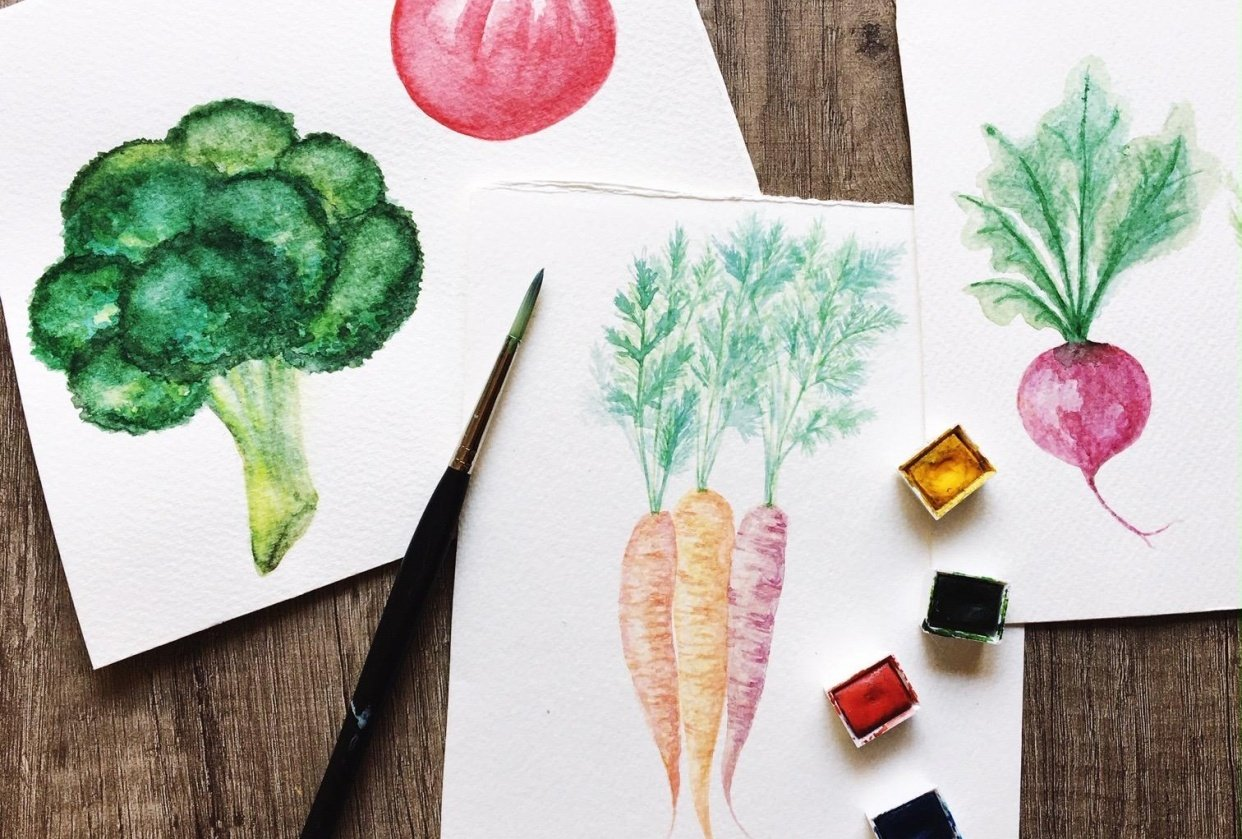 Painting veggies - student project