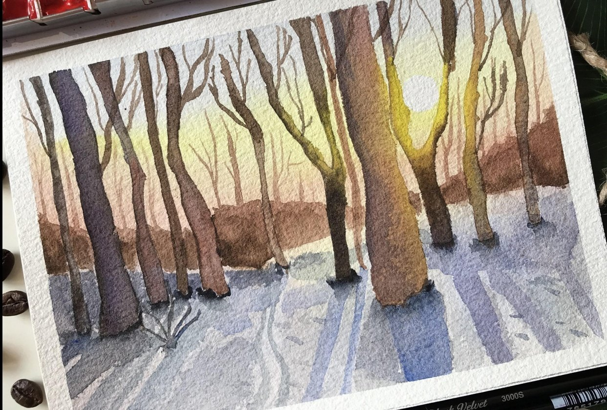Winter Forest Sunrise - student project