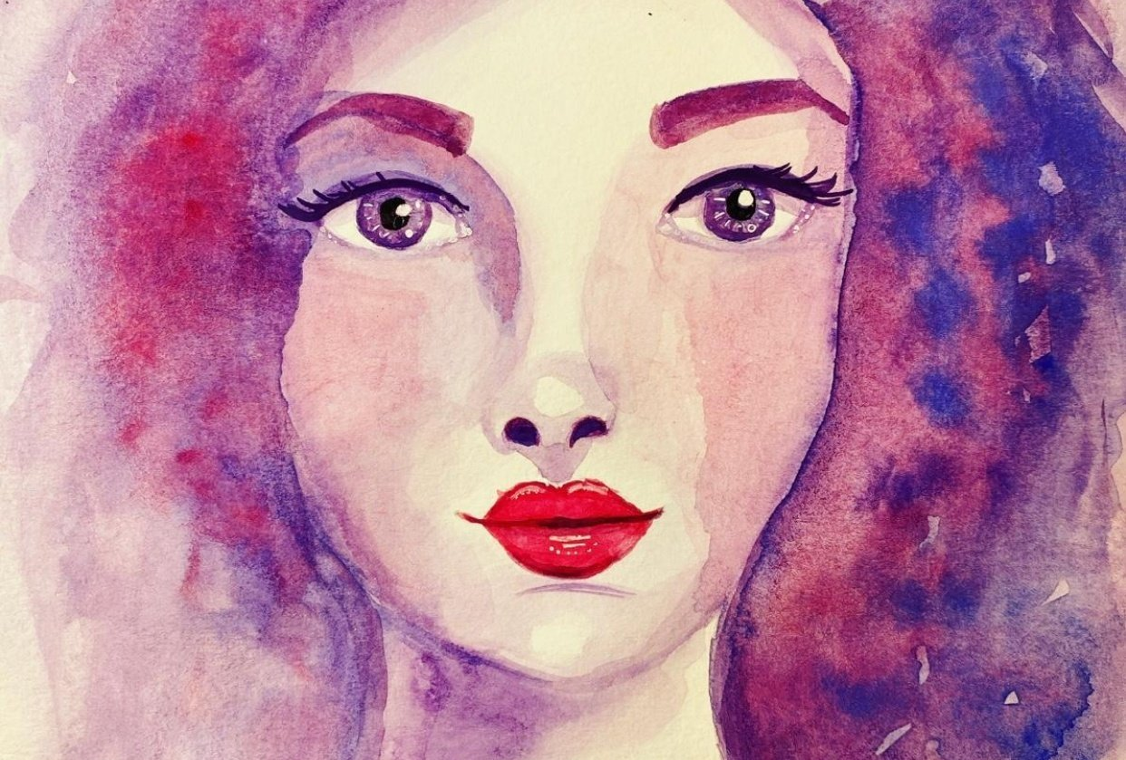 Whimsical face with watercolor - student project