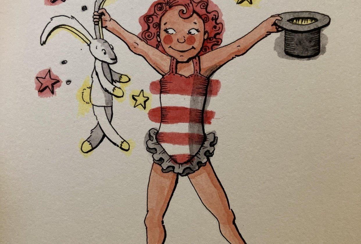 Watercolour magic: circus girl 5 ways! - student project