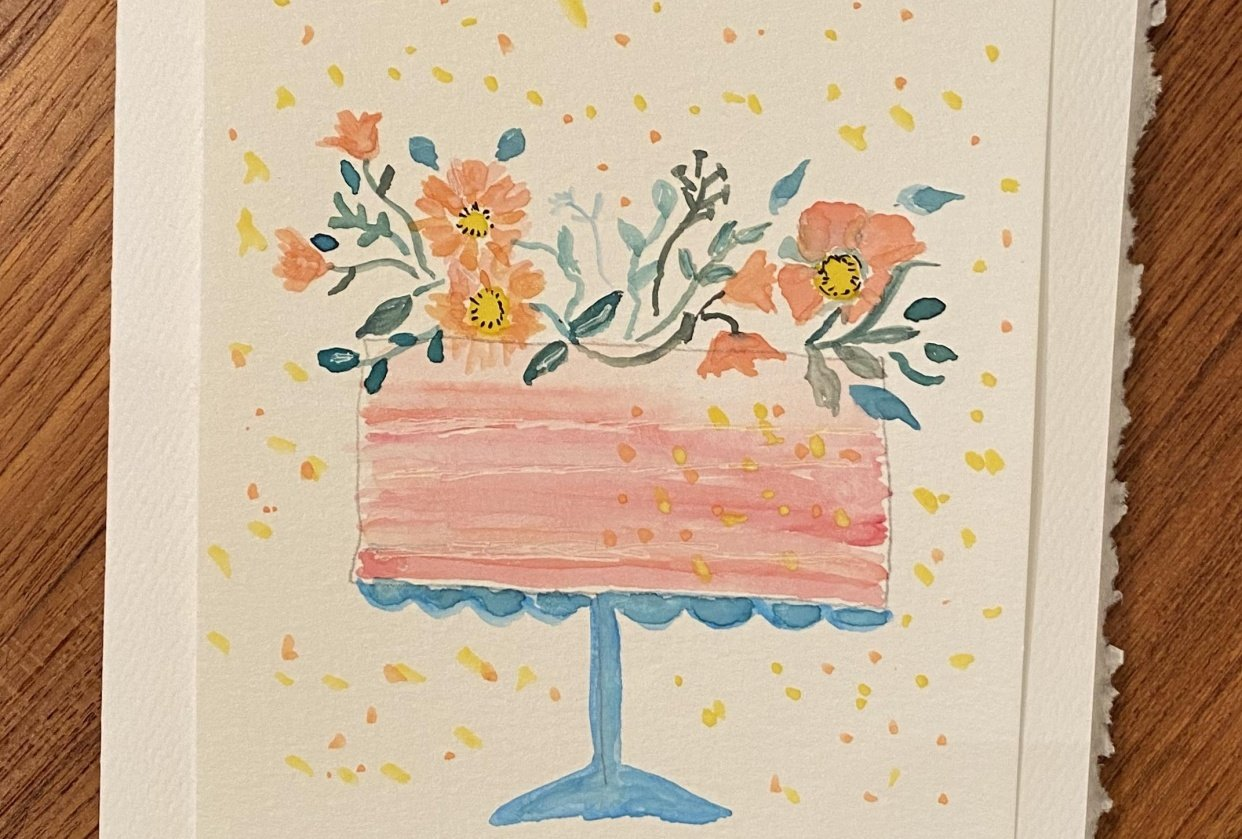 Watercolor Happy Birthday Cakes - student project