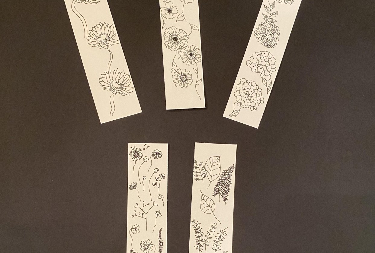 Botanical Line Drawing Bookmarks - student project