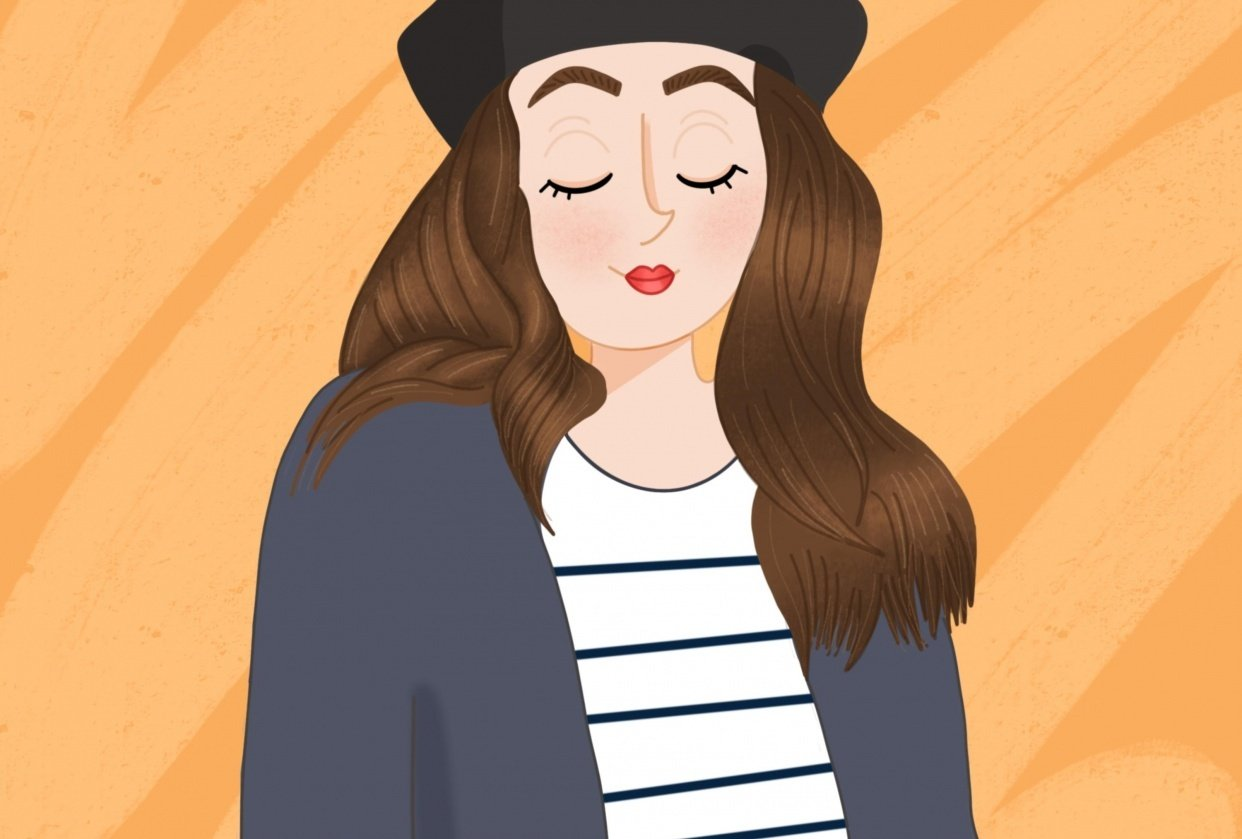 My first portrait - parisienne look - student project