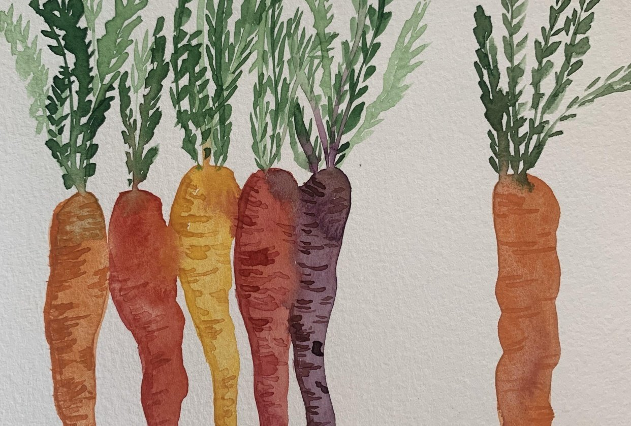 Watercolor veggies - student project