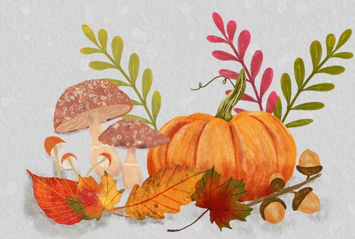 Pumpkins Mushrooms and Acorns - student project