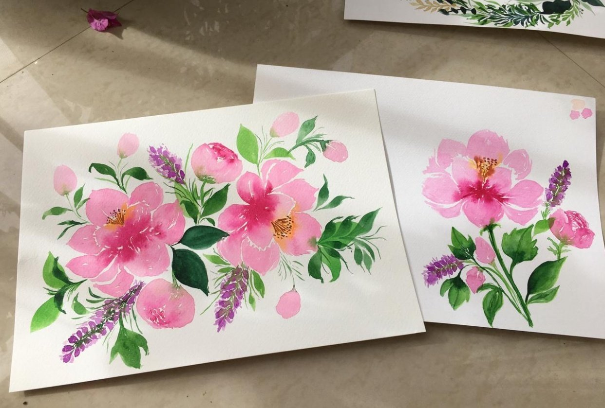 Watercolor Peonies - student project