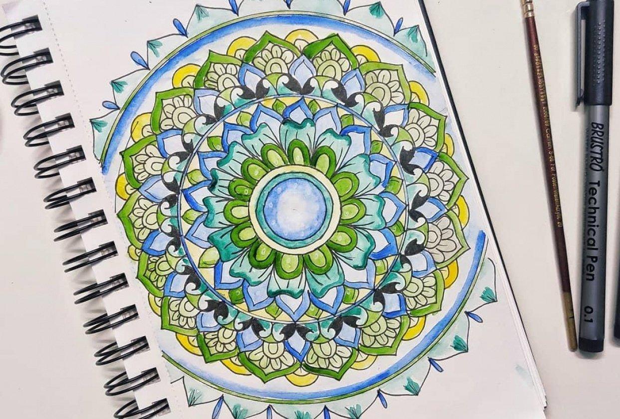 Watercolor Mandala Project - student project