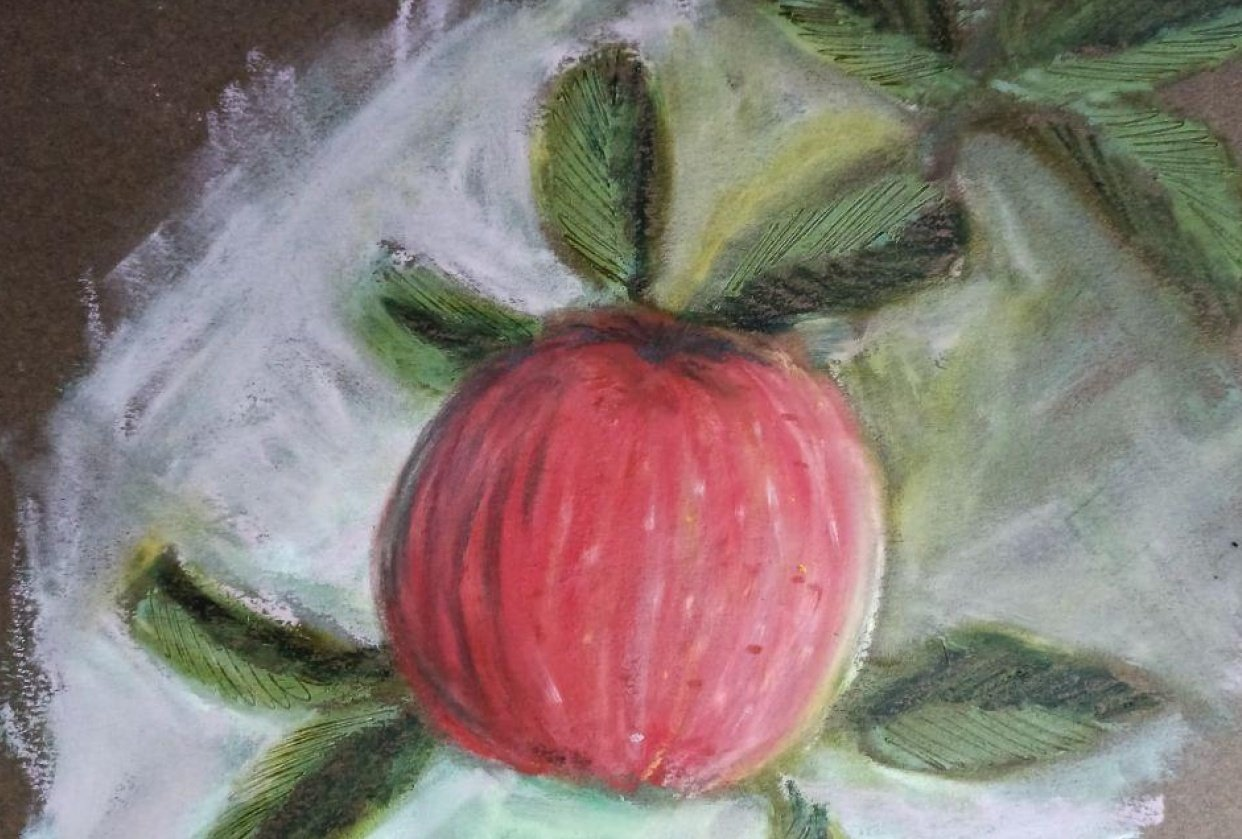 Oil pastel apple - student project