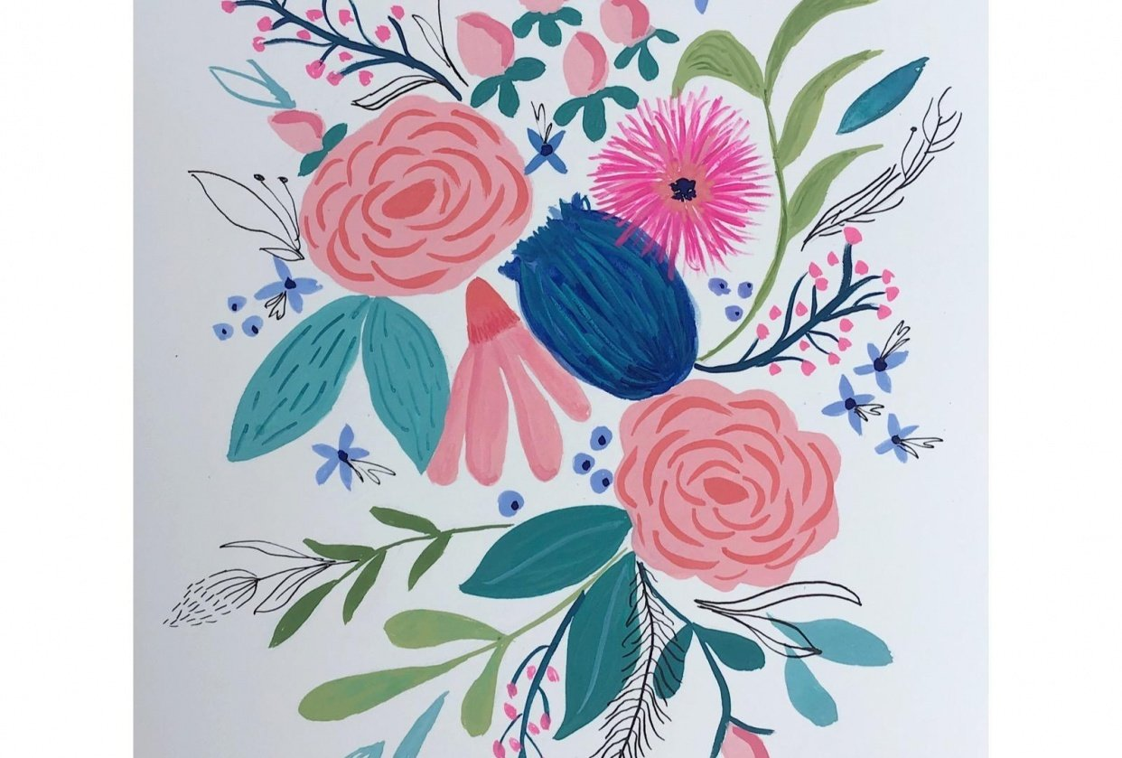 Gouache and Ink Florals - student project