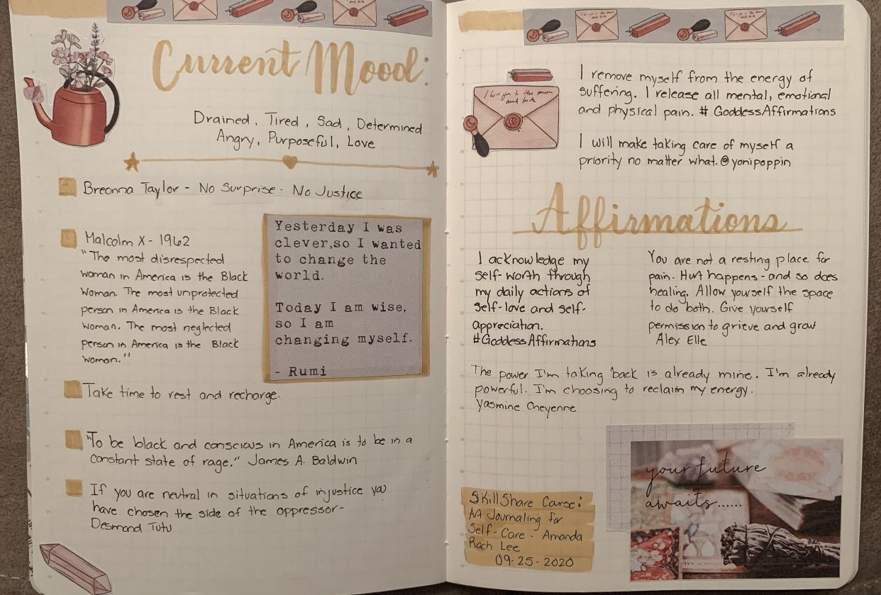 Current Mood Journaling Spread - student project
