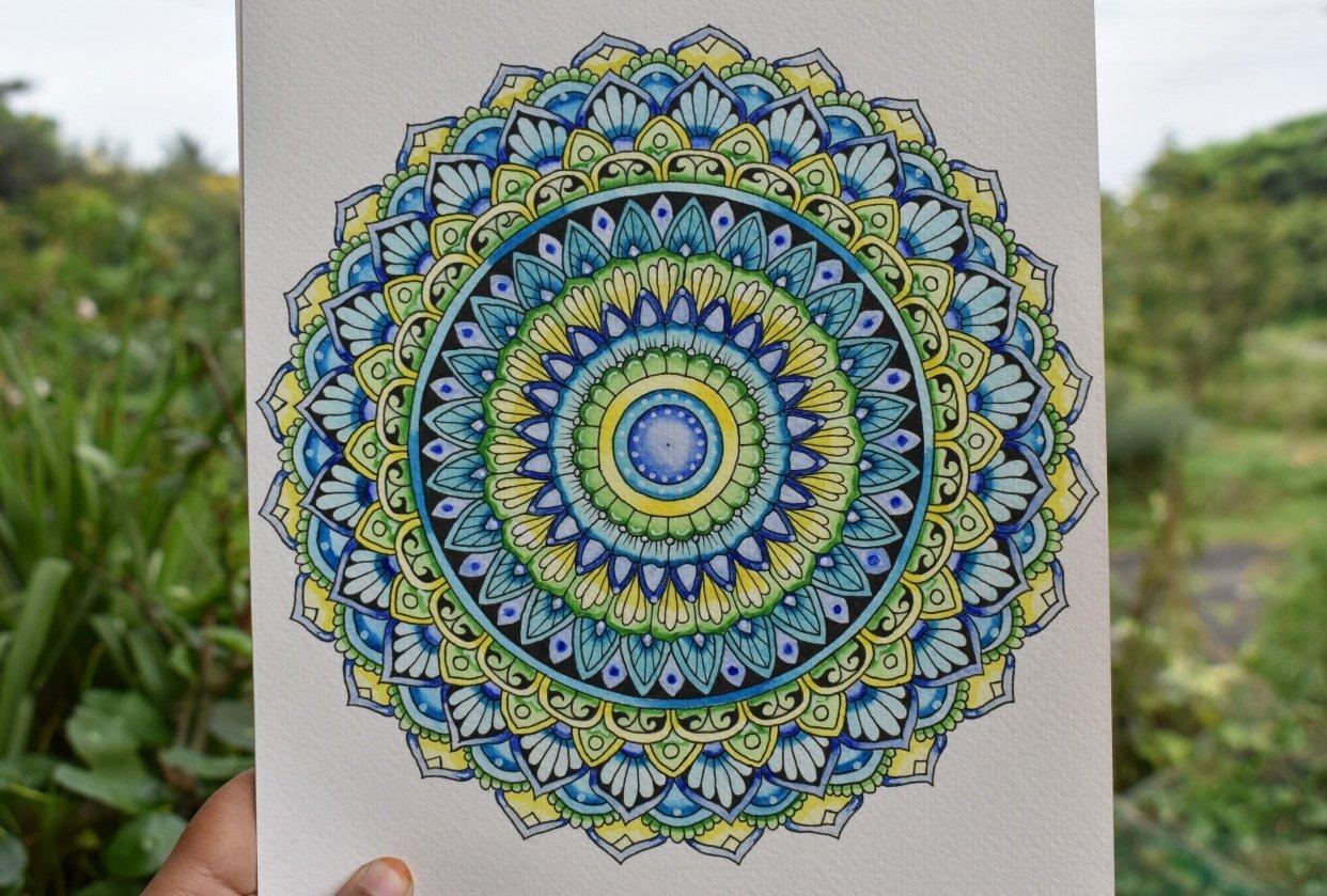 Watercolour Mandala - student project
