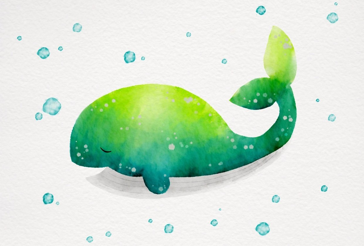 Watercolor Whale - student project