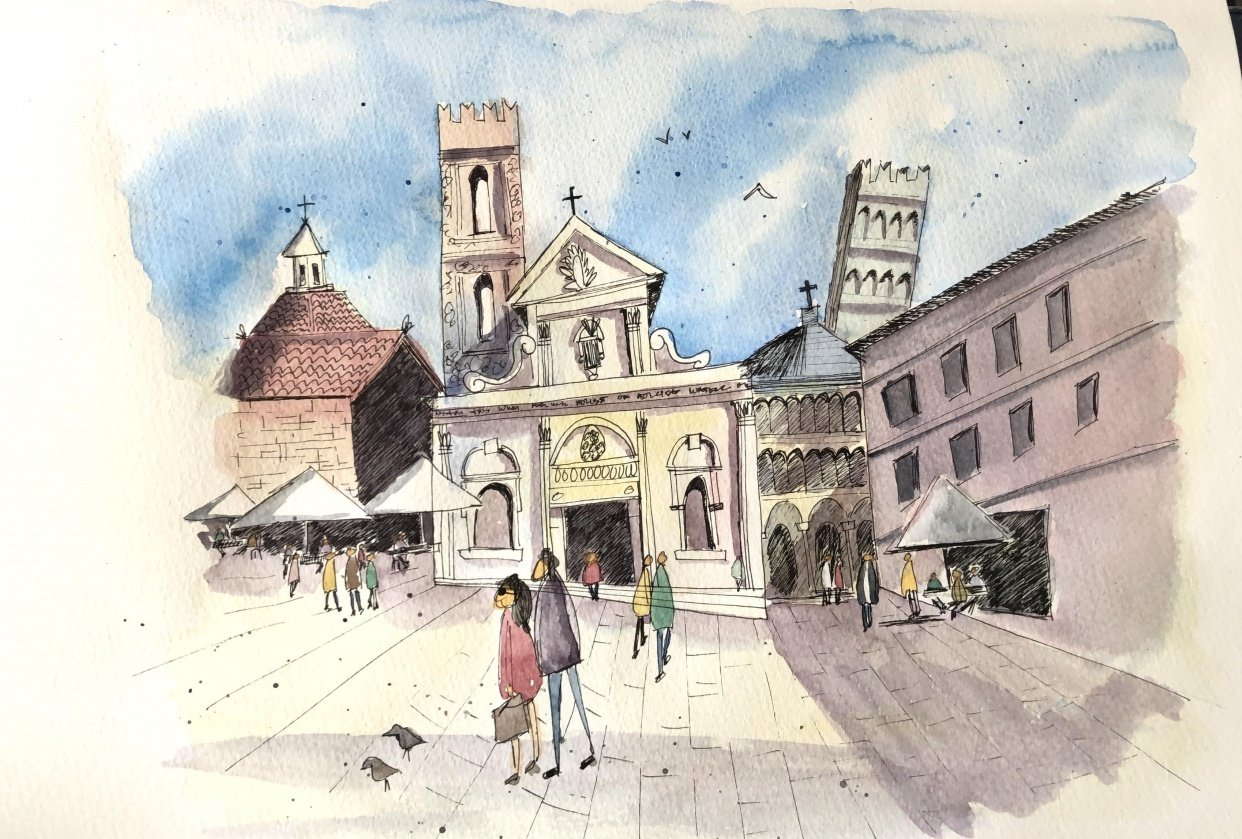 Urban Sketching - Lucca - student project