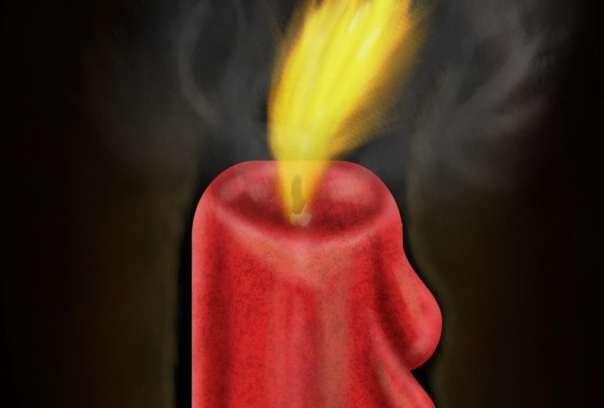 Candle with flame and smoke - student project