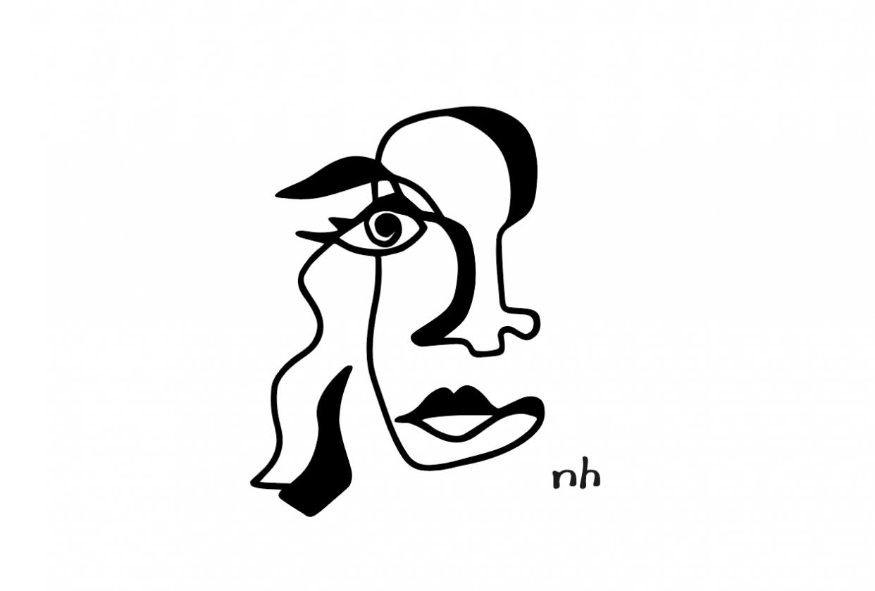 Graphic contour self portraits - student project