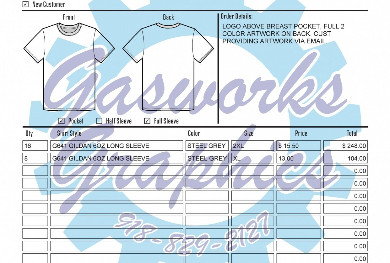 Custom Shirt Order Form - student project