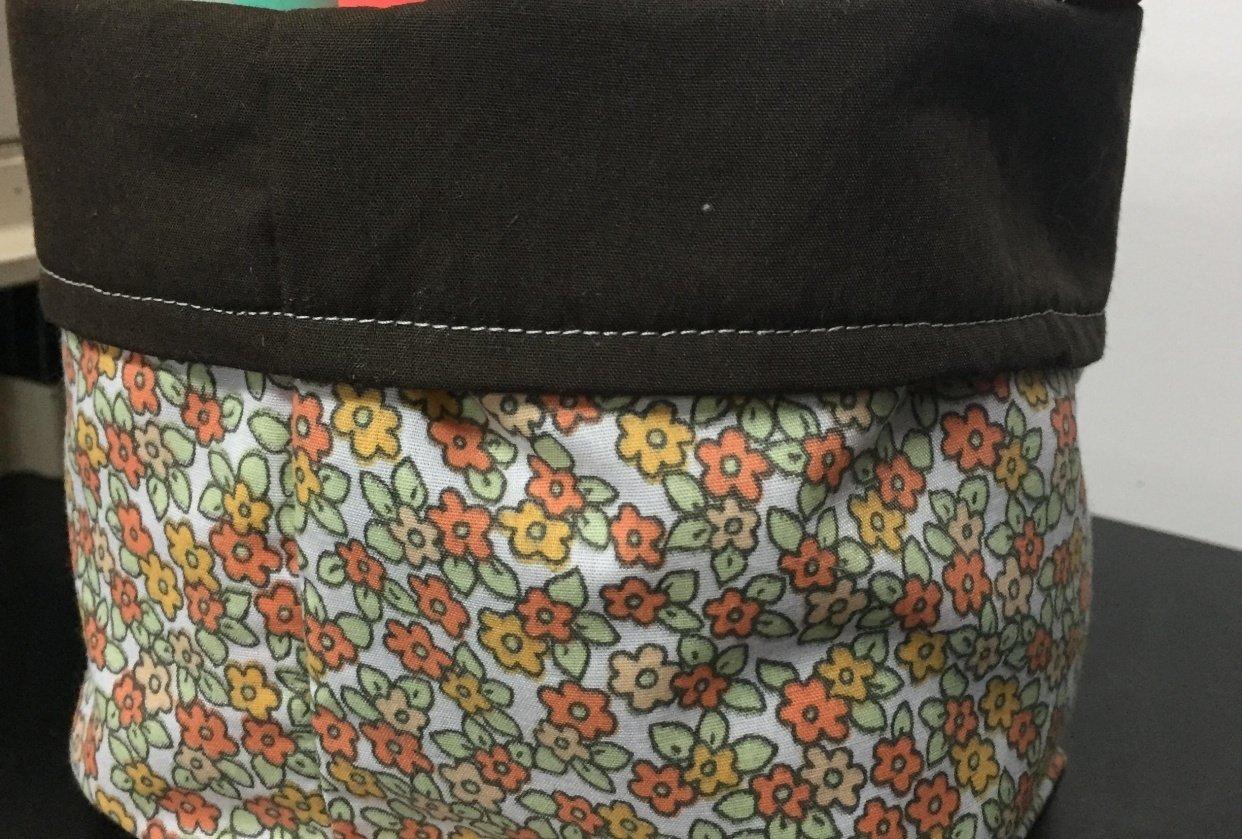 Vintage fabric bin - student project