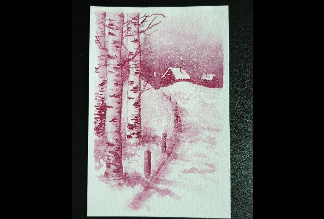Crimson Snowy Cabin - student project
