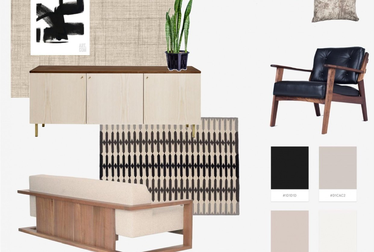 Concept board - Minimalist Lounge - student project