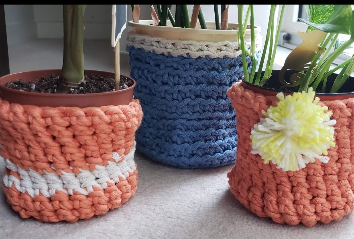 Plant Pot Covers with 5mm Yarn - student project