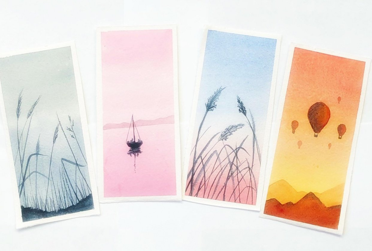 Relaxing watercolor projects - student project