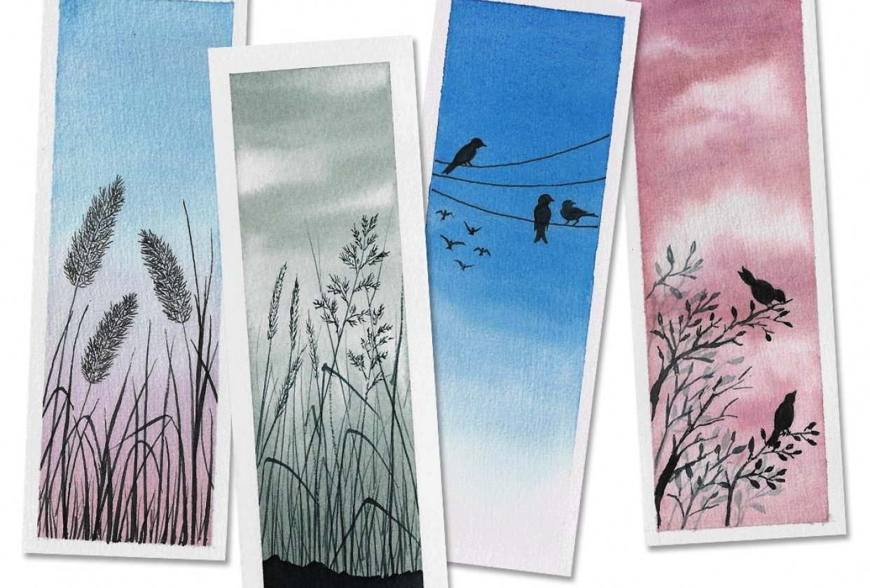 Watercolor Bookmarks & Polaroids - student project