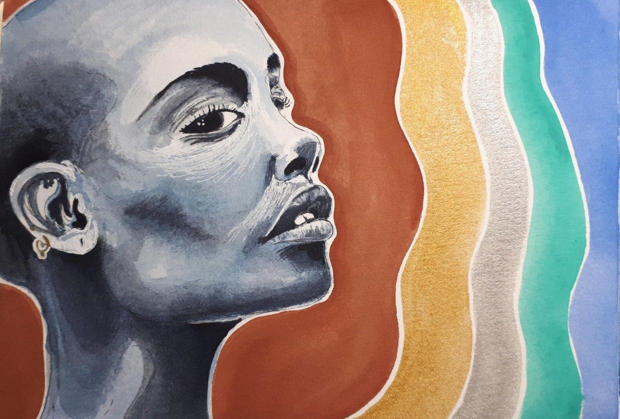 Watercolour portrait - student project