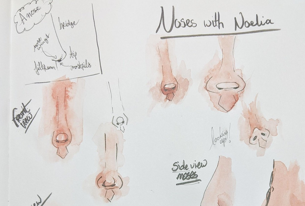 Drawing noses with Noelia - student project