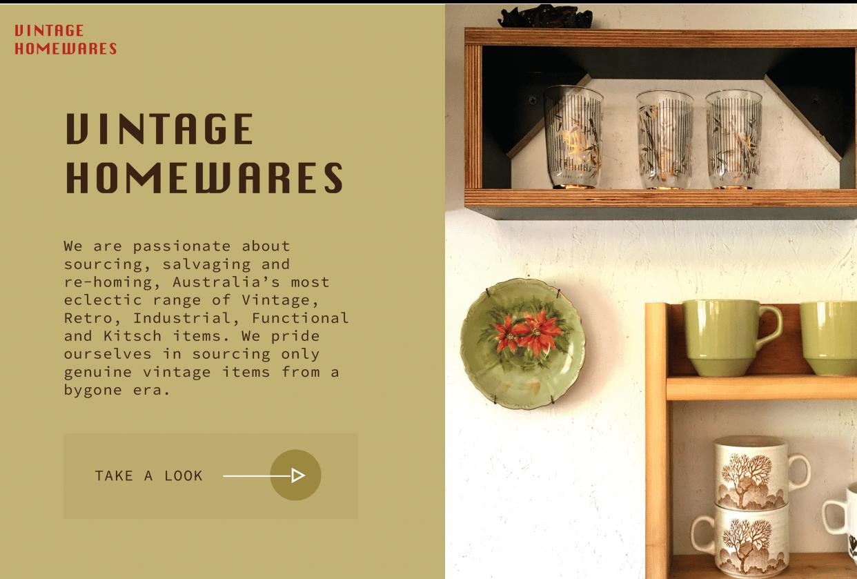 Vintage Homewares - student project