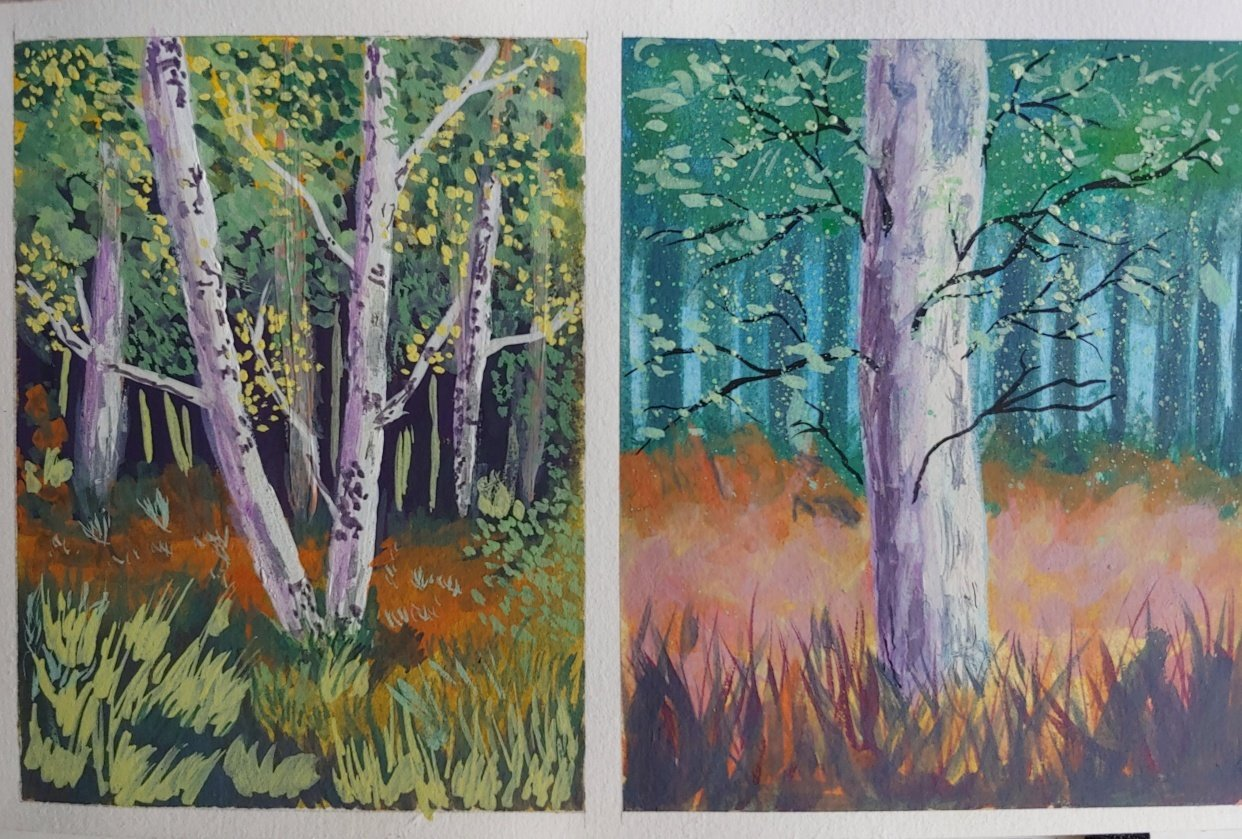 Trees in Gouache - student project