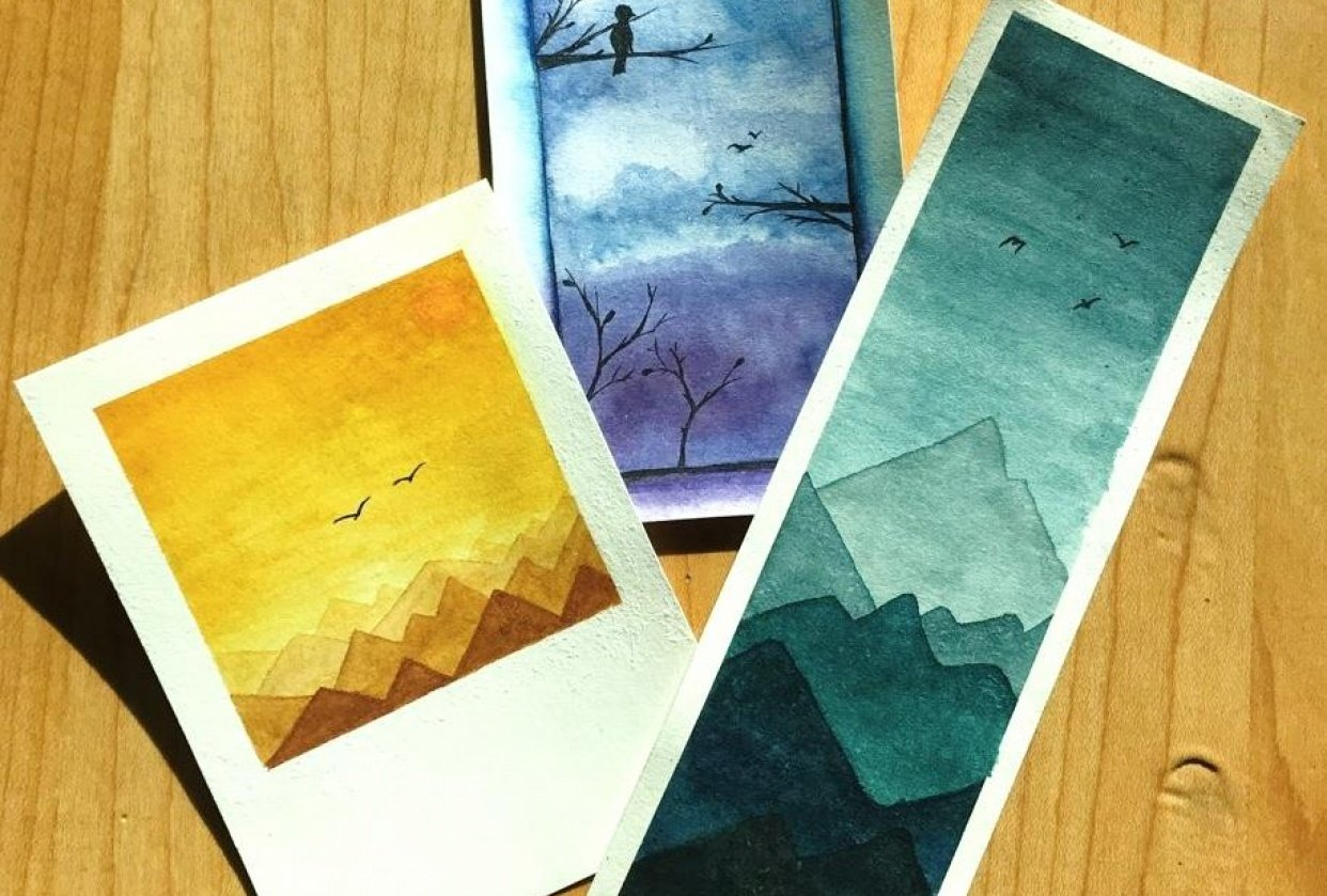 Watercolor skies and silhouettes - student project