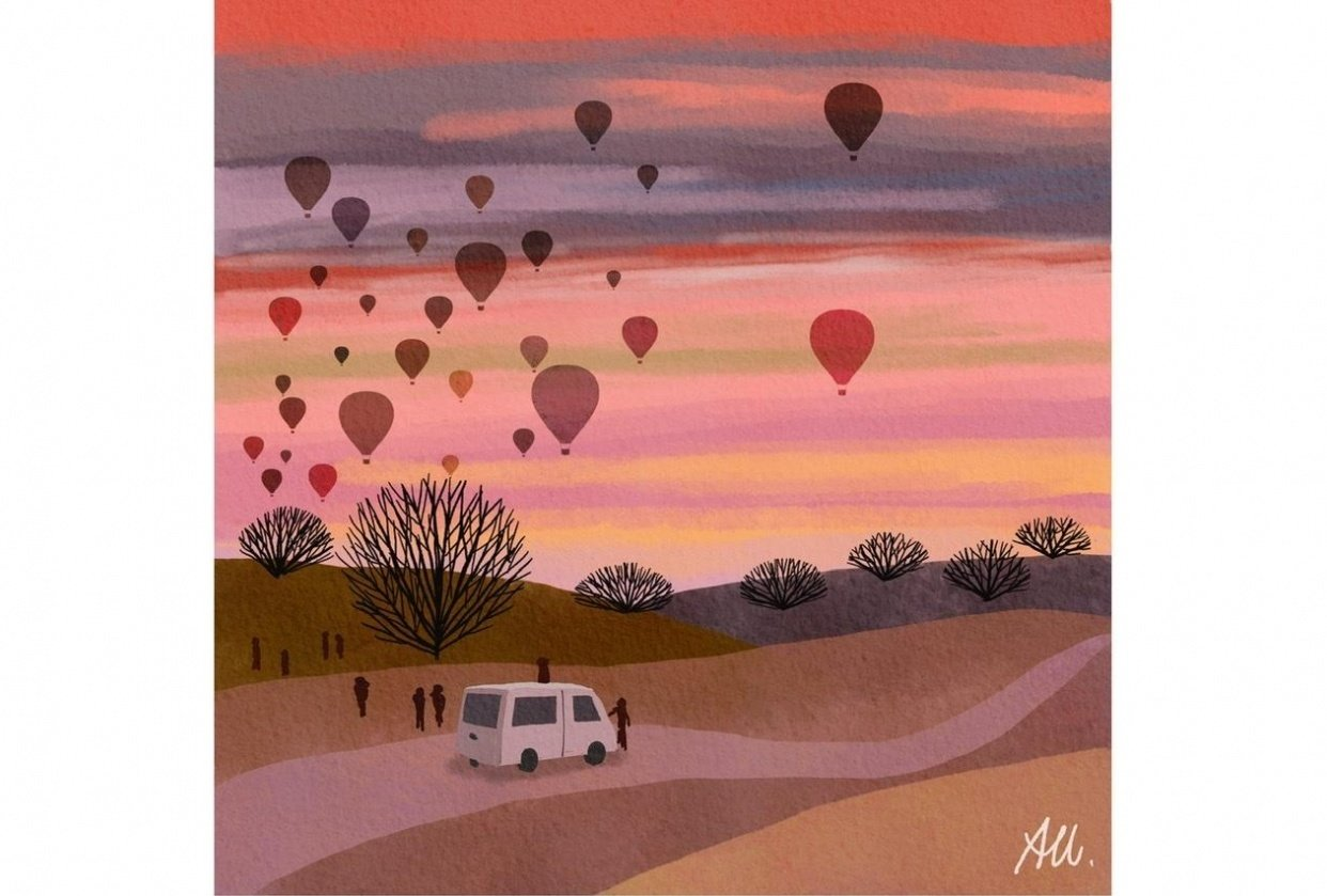 Hot air balloons in the morning sky - student project