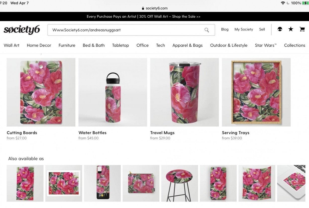 My shop at Society6 - student project