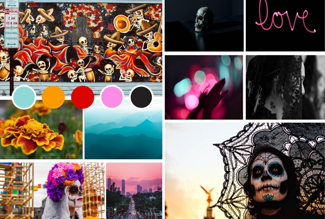 Día de Muertos Inspired Mood Board - student project