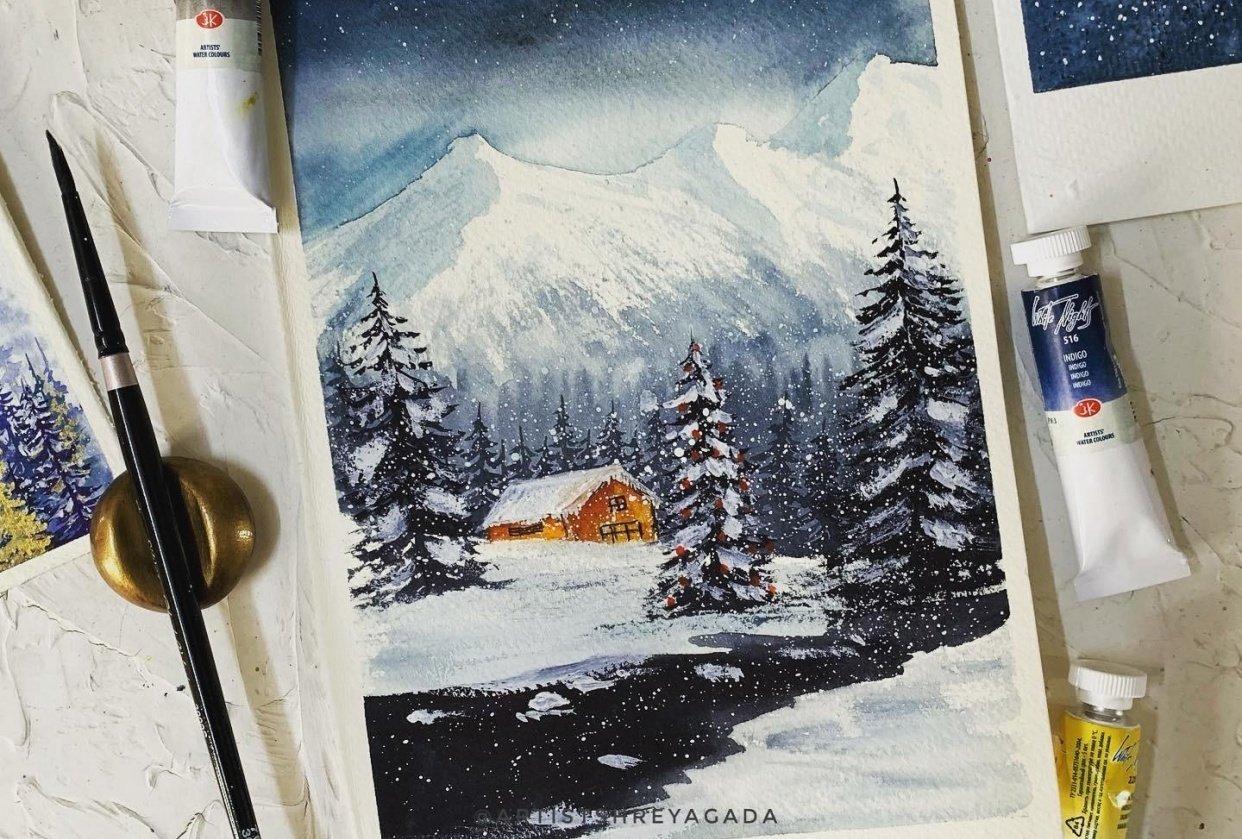 Winter landscape by @artistshreyagada - student project