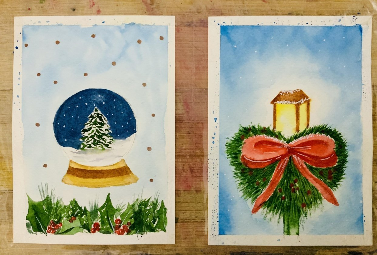 Watercolor christmas cards - student project