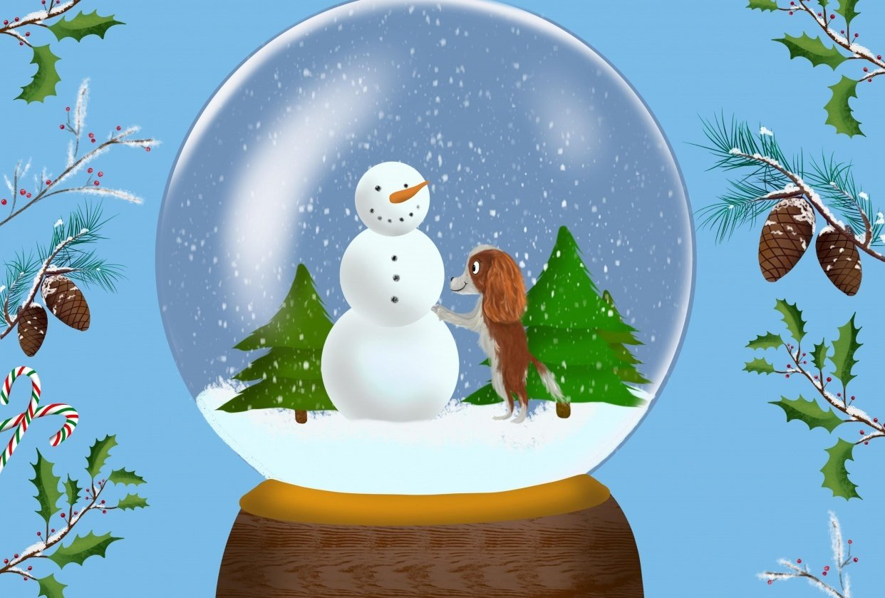 Cavalier King Charles Snow Globe - student project