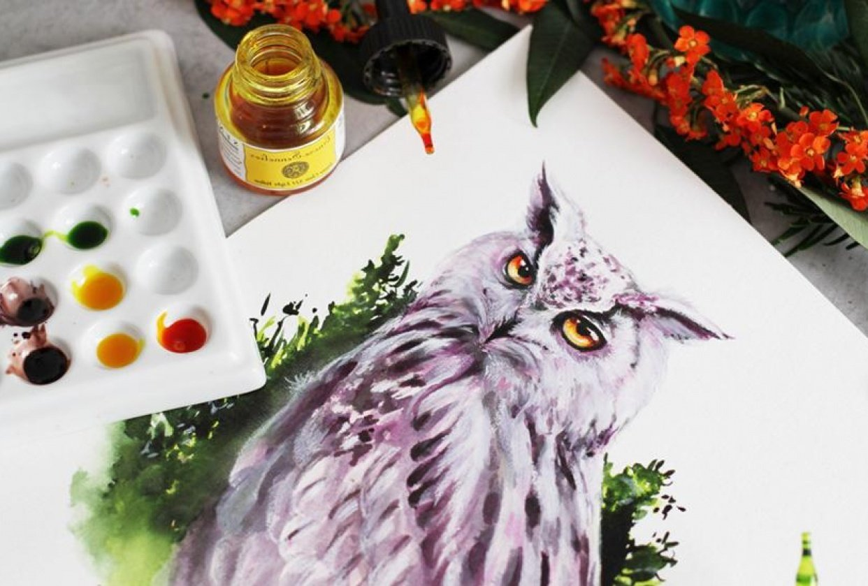 Purple Owl in INKredible Forest - student project