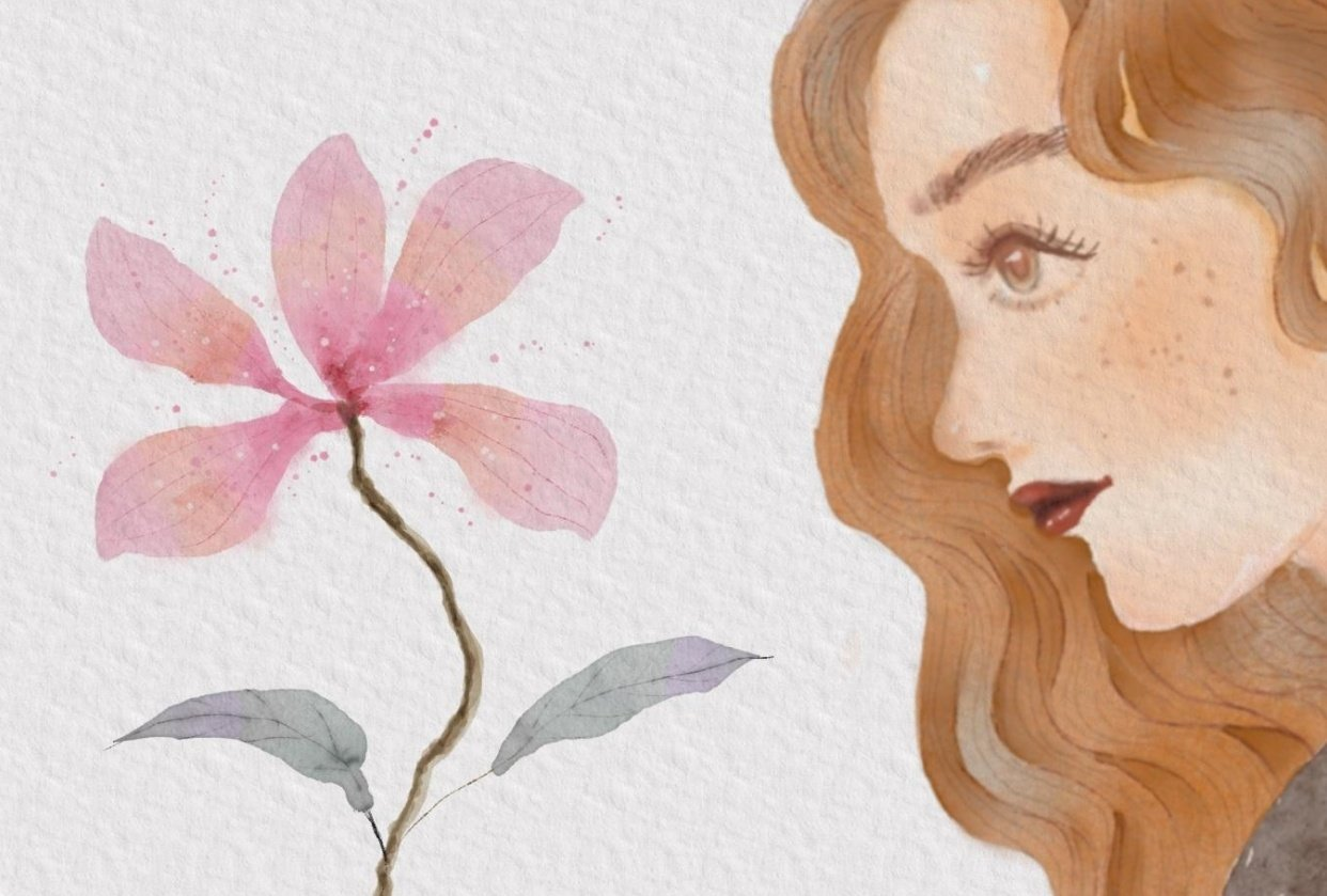 girl and flower - student project